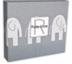 Mod Gray Elephants Baby Memory Book