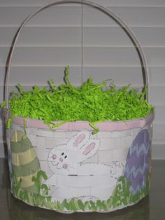 Hand painted Personalized Boys Easter Basket ..an Easter Sunday ...