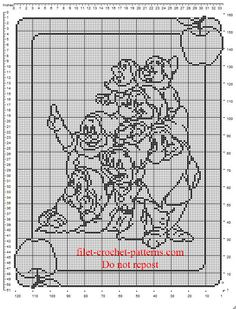 Free crochet filet pattern baby blanket with The Seven Dwarfs all together
