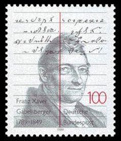 Briefmarke zu Franz Xaver Gabelsbergers 200. Geburtstag 1989