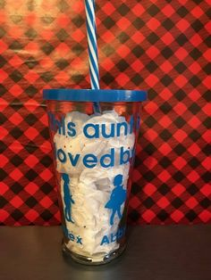 This Aunt Is Loved By Tumbler, Personalized Tumbler, Glass Tumbler, Tumbler with lid and straw, Gifts for Aunt by ChickenCoopGifts on Etsy