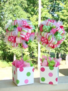 This topiary is a must have centerpiece for any birthday party, baby shower or decoration for your home. This topiary is covered in hundreds ribbons in Strawberry Shortcake Theme and Colors.