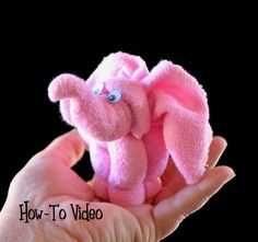 Washcloth Elephant - a herd of these would be so cute at a baby shower