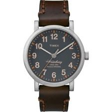 Timex TW2P58700 Men's Brown Leather Watch Indiglo Waterbury Collection