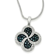 Sterling Silver W/ Rhodium-plated Blue Diamond Clover Pendant Blue Diamond Jewelry, Rose Jewelry, Clover Necklace, Silver Diamonds, Sterling Silver Jewelry, Jewelry Collection, Jewelry Necklaces, Blue And White, Pendants