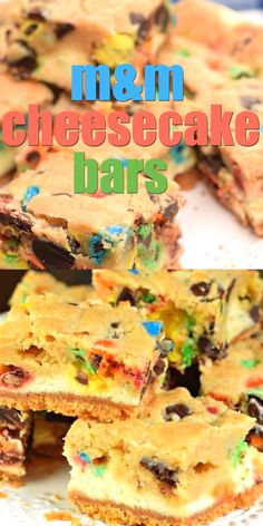 These M&M Cheesecake Bars have a sweet graham cracker crust creamy cheesecake filling and a chocolate chip cookie dough packed with M&Ms on top! The post M&M Cheesecake Bars appeared first on Orchid Dessert. Chocolate Cookie Recipes, Peanut Butter Cookie Recipe, Chocolate Chip Cookie Dough, Easy Cookie Recipes, Sweet Recipes, Baking Recipes, Dessert Recipes, Chocolate Chips, Chocolate Cupcakes