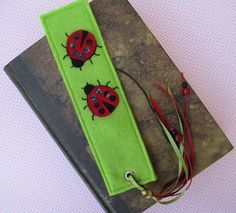 Cute Ladybirds - Felt Bookmark with Ladybird Motif, Ribbons, and Beads