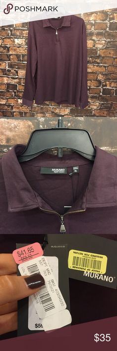 Men's Deep Purple Murano Half Zip! NWT. size XL! This is the perfect 1/4 Half Zip!! Super soft and silky feeling. Wear on the golf course, to work, or to workout in!! Super versatile. NEW WITH TAGS. (MT27) Murano Sweaters Zip Up