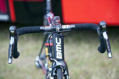 Pro Bike: Tejay van Garderen's BMC Teammachine SLR01 - 3T provides cockpit components. Van Garderen rides a 42cm wide Ergosum bar. Photo: Caley Fretz | VeloNews.com