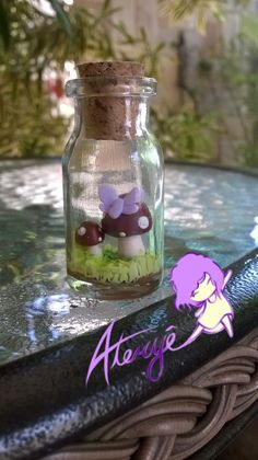 Mushroom in a bottle made out of clay <3