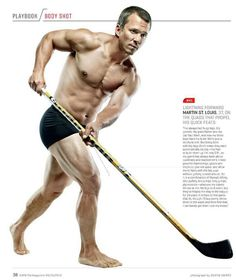 37 year-old Martin St. Louis is the winner of the Art Ross Trophy with 60 points. So here's a shirtless pic of him from ESPN The Magazine.