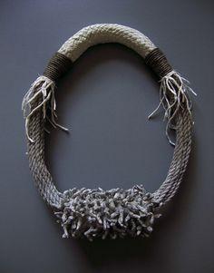 Ami Avellán  Neckpiece: Roots #16 2012  Aluminium, hand made reindeer leather, jute, paper, silk, sewing thread, acrylic paint, pvc tube