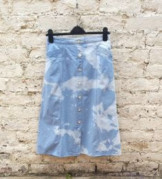 Long Skirt Denim Bleach Dye to fit UK Size 12 US size 8