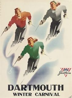 vintage ski poster - BINDER, Joseph (1898-1972)   DARTMOUTH WINTER CARNIVAL