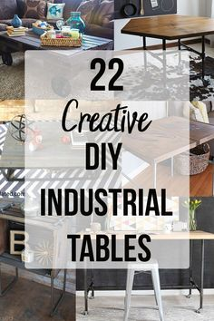 Creativeideas for DIY industrial tables! Awesome projects using pipes for dining… Creativeideas for DIY industrial tables! Awesome projects using pipes for dining table, industrial coffee tables, end tables and so much more! Diy Furniture Projects, Diy Wood Projects, Pipe Furniture, Furniture Vintage, House Projects, Painted Furniture, Beginner Woodworking Projects, Diy Woodworking, Industrial Console Tables
