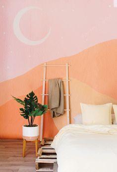 Bohemian Wallpaper, Trendy Wallpaper, Retro Wallpaper, Retro Bedrooms, Bedroom Murals, Bedroom Ideas, Bedroom Wallpaper, Bedroom Designs, Modern Bedroom