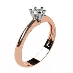bague avec diamant solitaire et corps de bague de deux couleurs d'or. Le diamant solitaire de 3,5 mm est serti de 6 griffes en or blanc alors que le corps de bague peut être en or rose, or jaune ou bien or blanc.