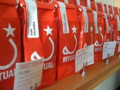 Ritual Coffee in San Francisco uses red to grab their customers' attention. #coffee #packaging #design