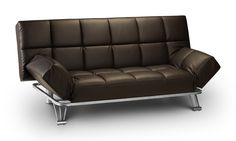 Contemporary and very popular faux leather sofa bed with chrome steel legs for extra support. Features a very easy klik-klak mechanism for instant multi-positions - arm pillows and fold-down coffee table.   Was: €470.00   NOW: Only €375.00!!  #SofaBeds #Sofa #Ireland #FurnitureIreland  For more details, check out our online store:  http://www.idealfurniture.ie/manhattan-sofa-bed-brown/
