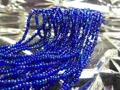 Size 13/0 Charlotte/True Cut Transparent NAVY BLUE Iris-AB-Rainbow Preciosa Czech Glass Seed Beads-1.7mm Rocaille-Strands/Strings-Short Hank by BodaciousRockz on Etsy