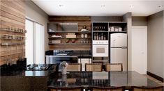 cocina mármol negro pared madera