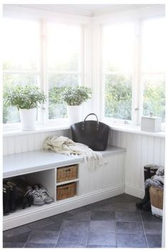 back porch storage - sort of Enclosed Front Porches, Porch Storage, Sunroom Decorating, Interior Architecture, Interior Design, Cozy House, Mudroom, Cottage Style, Home Projects