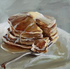 Pancakes   Canvas print of an Original Painting by ArtPaperGarden, $38.00