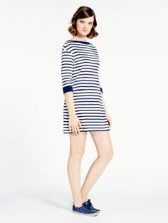 striped cotton jersey dress - kate spade new york - in rich navy