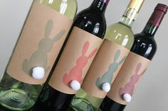 Easter Wine Labels Easter Table Decorations Easter Table decor Easter Decorations EASTER WINE, Bunny Wine Labels, Easter hostess gift