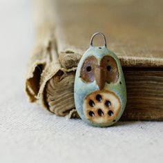 clay owl charm / pendant