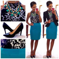 Turquoise pencil skirt,matching statement necklace,black blazer and pumps.perfect for a business look