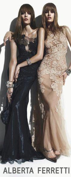 Evening gown, couture, evening dresses, formal and elegant Nadja Bender & Zuzanna Bijoch for Alberta Ferretti SS 2013