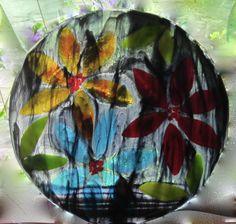 """""""Black Magic"""" - Fused Glass Dish. Diameter 24 cm"""