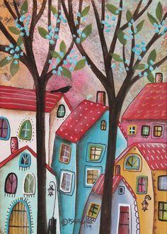 Red Roofs 5x7inch ORIGINAL Canvas Panel PAINTING FOLK ART Primitive Karla G #FolkArtAbstractPrimitive