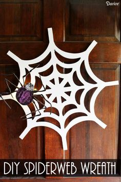Add some spook to your door this Halloween with this spiderweb wreath DIY Halloween idea. It's the perfect way to greet those trick or treaters! Darice