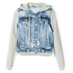 BSK denim plush jacket ($45) ❤ liked on Polyvore featuring outerwear, jackets, tops, sweaters, blue denim jacket, blue jackets and denim jacket