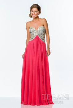 Chiffon sweetheart a-line gown featuring a sequin encrusted bodice and high to low waistline that segues into a full, poly chiffon skirt.
