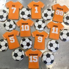 The soccer team with LOVE these jersey and soccer ball cookies after the big game!