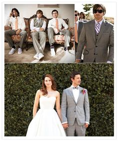 via 100layercake.com  dear groom in a grey (three piece) suit (and groomsmen in vests and dress slacks): i think you're swell.