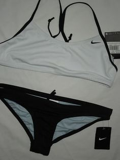NWT NIKE two piece bikini swimwear SWIMSUIT ~ LARGE ~rt $104 ~black & white