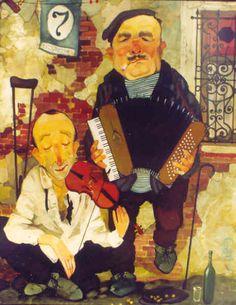 World of Illustration: Otar Imerlishvili Street Musician, Music Images, Naive Art, Watercolor Pattern, Caricature, Art Boards, Illustration Art, Illustrations, Original Art