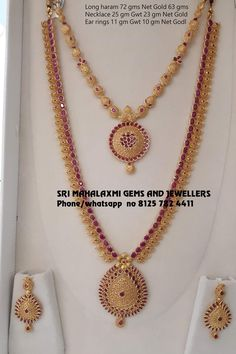 Light weight harams get at wastage charges than market. Presenting haram n neckalce studded with pure Rubies. Visit for full variety ready selection or made to order. Contact no 8125 782 Gold Necklace Simple, Gold Jewelry Simple, Silver Jewelry, Gold Necklaces, Indian Jewelry, Diamond Jewelry, Jewelry Design Earrings, Gold Earrings Designs, Necklace Designs