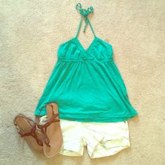 Flowy green halter top Green halter top with beaded tie at the top. Worn a few times, but in good condition. Aeropostale Tops Tank Tops