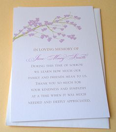 Funeral Thank You Notes with a Strong Tree - Personalized - FLAT ...