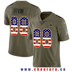 006b15bf760b4 Men s Dallas Cowboys  88 Michael Irvin Olive with USA Flag 2017 Salute To  Service Stitched