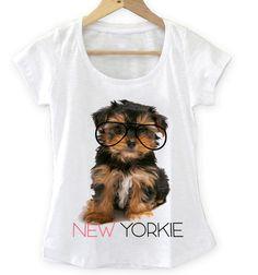 T-shirt Feminina New Yorkie, Tecido Flamê - Cam Shirts