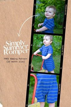 Simply Summer Romper FREE sewing pattern (12 month size). If you're looking for a baby romper pattern then here's a fabulous one that is FREE. It comes in just a 12-month size but the designer also shows you how to make one for all other sizes. Rompers in the summer are the designer's favorite! This romper is a super quick sew, and with knits is so comfy for these little playful bodies! Boys Sewing Patterns, Sewing For Kids, Baby Sewing, Free Sewing, Baby Romper Pattern, Free Pattern Download, Summer Romper, Kids Pants, Modern Kids