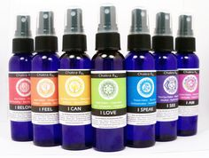 CHAKRA HEALING THERAPY Aromatherapy Sprays to help you open, clear, balance and expand your seven chakras.  Great for meditation or as tools for healers and lightworkers to use with clients during healing or Reiki sessions.  Blended with pure essential oils and powerful gem elixir.