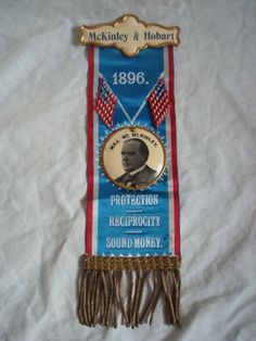 McKinley Hobart 1896 Campaign Ribbon   eBay