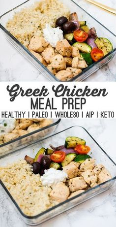 One Pan Greek Chicken Meal Prep (Paleo, AIP) This one-pan greek chicken is the perfect dish for healthy meal prep! It's full of veggies, healthy protein, and features a dairy-free tzatziki. It's paleo,. Healthy Protein, Healthy Meal Prep, Healthy Drinks, Healthy Recipes, Paleo Food, Healthy Meals For One, Paleo Recipes Easy Quick, Raw Food, Healthy Weight